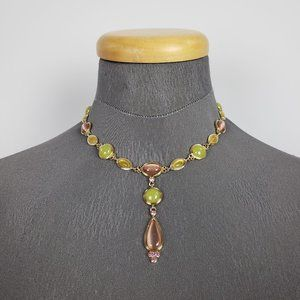 Gold Green & Brown Drop Necklace